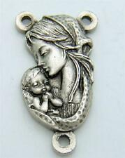 MRT Madonna & Child Vatican Rosary Centerpiece Silver Plate Italian Gift  3/4""
