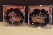 TARINA TARANTINO BLACK BEADED AND HEART BRACELET MADE WITH SWAROVSKI LOT OF 2