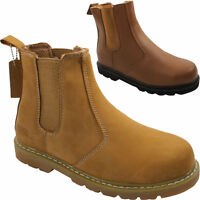 MENS LEATHER SAND SAFETY STEEL TOE CAP BOOTS ANKLE TRAINERS DEALER SHOES SIZE UK