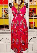 Betsey Johnson Dress KITTY CAT PRINT Red Sheer PLAYFUL KITTEN Shift Long 8 M NWT