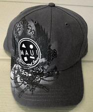 Maui and Sons Script Hat Gray with Black/White Embroidery plus print Snapback
