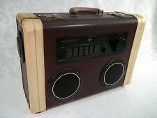 Vintage Suitcase Boombox Ghetto Blaster with Bluetooth Receiver