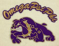 "OMEGA PSI PHI Bulldog (10 1/4"") and Rocker (13"") Patches   (crest-shield)"