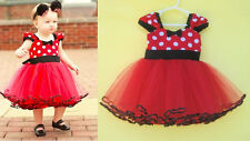 1pc Girl Kid Baby Infant Polka Dot Dress Tutu Summer Clothes Clothing 12-18M Red