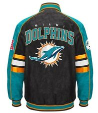 Officially Licensed NFL Miami Dolphins Varsity Suede Leather Team Jacket XL