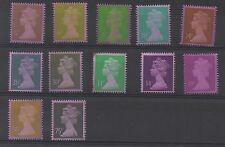 Collection x 12 Machins treated with redacted dye. Unmounted mint.
