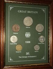 FRAMED 1958 COIN YEAR SET (RETRO 58th BIRTHDAY PRESENT WEDDING ANNIVERSARY GIFT)