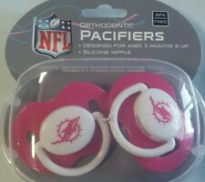 Miami Dolphins PINK Baby Infant Pacifiers NEW - 2 Pack SHOWER GIFT! girls