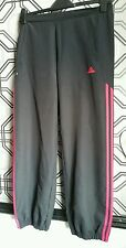 ADIDAS Classic Black & Pink Tracksuit Bottoms Trackpants Trousers 10 VGC