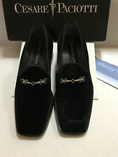 Mens Cesare Paciotti Dress Shoe - Black  Velvet - Slip-On, Size 6M