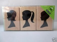 Set of 3 Hero Arts Rubber Stamps Silhouettes FREE SHIP Wood Mounted stamp New