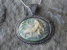 CREAM ON GREEN, OLIVE MERMAID CAMEO NECKLACE - QUALITY - NAUTICAL - OCEAN
