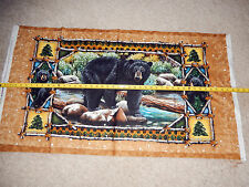 "Bear Country Black Bear Cub Paw Forest River 24"" Panel QT 23973-X cotton fabric"