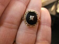 AWESOME VTG ANTIQUE ART DECO 10K YELLOW GOLD RING, ONYX & DIAMOND, MOURNING-HAIR