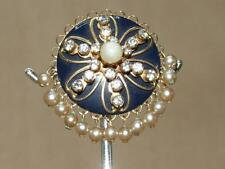 Vintage 50s Atomic Glass Rhinestone Faux Pearl Enamel Flower Dangle Pin Brooch