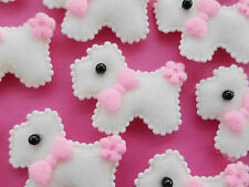 100! SCOTTIE DOG FELT EMBELLISHMENTS - CREAM WITH PINK FLOWER & BOW - 40MM/1.6""