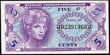SERIES 641 5 FIVE CENTS MPC MILITARY PAYMENT CERTIFICATE GEM UNCIRCULATED
