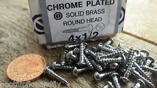 "40 x  1/2"" x 4 CHROME PLATED ON  BRASS ROUND HEAD WOOD SCREWS SCREW SLOTTED"