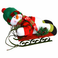 Festive Cute Plush Snowman On Painted Metal And Wood Sledge Christmas Ornament