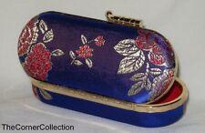 FLORAL BROCADE SMALL MIRRORED JEWELRY BOX TOTE DARK BLUE PURPLE