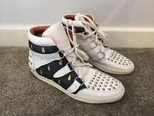 Magnifique sandro en cuir blanc clouté res jeancrode hi top baskets uk 5 38
