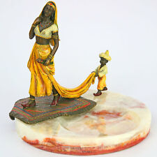 ORIENT BRONZE ARAB WOMAN attended by boy - VIENNA BRONZE, arabische FRAUENFIGUR