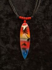 RED SEED BEAD FREE POSTAGE SURFBOARD SHARK TOOTH CORD NECKLACE GIFT MIAMI THEME
