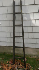 "HANDMADE BLACK ORCHARD ALDER WOOD LADDER 5FT RUSTIC 60"" 5 RUNG FARMHOUSE"