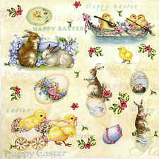 4 Single Party Paper Napkins for Decoupage Decopatch Craft Happy Easter Animals