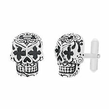 Stainless Steel Skull with Black Enamel Cufflinks