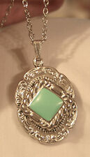 Shiny Sloped Rim Silvertone Seafoam Green Finish Rhombus Pendant Necklace