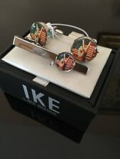 Ike Behar Patriotic Peace American Flag Cuff Links & Tie Clip 4 Election New!