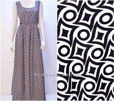 RETRO FUNKY GEOMETRIC CHECK MONOCHROME MAXI DRESS BLACK WHITE ONESIZE 10 12 14