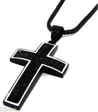 "Mens Black Iced Out Cross Pendant Hip-Hop 36"" Inch Franco Necklace Chain K2"