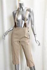 ALEXANDER McQUEEN Womens Khaki Cotton Cropped Suspender Pants Trousers 42/8 NEW