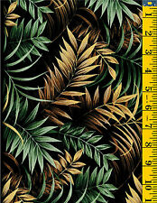 Wild Things Jungle Fern Leaves Cotton Quilt Fabric by P&B Textiles Tan Green 34