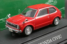 Ebbro 43122 1:43 scale Honda Civic 1200 Hi-Deluxe (1972) Die Cast Model Car Red