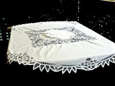 MAGNIFICENT VINTAGE  ROUND WHITE  COTTON  BATTENBURG  LACE  TABLECLOTH & NAPKINS