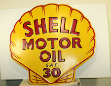 SHELL MOTOR OIL Embossed Metal Large 22''x23'' Petroleum Gas Station Pump Texaco