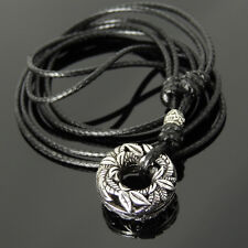 Mens Adjustable Braided Necklace 925 Sterling Silver Pendant Charm Wax Rope 190M