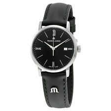 Maurice Lacroix Eliros Date Black Dial Black Leather Strap Ladies Quartz Watch