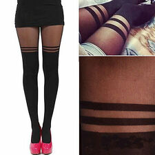 Womens Sexy Stockings Pantyhose Mock Over The Knee Double Stripe Sheer Tights