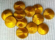 12 x uralte Seidenknöpfe Zierknöpfe Seidengarn 12mm goldgelb um 1900 Nr.3