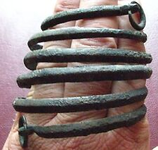 Authentic Ancient Lake Ladoga VIKING Artifact   BRONZE SPIRAL BRACELET  E22