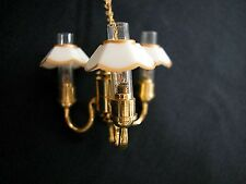 Three Up-Arm Colonial Chandelier Gold & White Shade, Dolls House Miniature