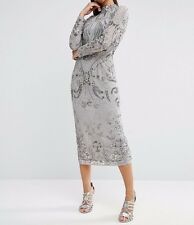 BRANDED RED CARPET High Neck Embellished Floral Midi Evening Dress in Grey UK 10