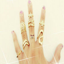 7pcs/set Women Mid Midi Above Knuckle Ring Band Gold Tip Finger Stacking hs