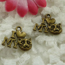 Free Ship 80 pieces bronze plated cat head charms 18x14mm #1304