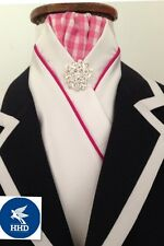 HHD WHITE SATIN Pre-tied SHOW HORSE STOCK TIE HOT PINK PIPING, Gingham Stock Pin