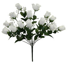 14 Long Stem Rose Buds WHITE ~ Silk Wedding Flowers Centerpieces Bridal Bouquets